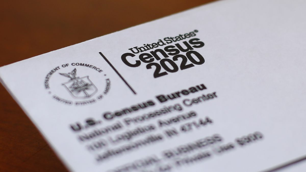 FILE - This April 5, 2020 file photo shows an envelope containing a 2020 census letter mailed...