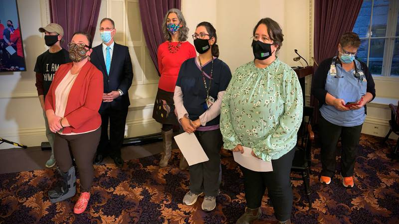 Speakers at Monday's Statehouse press conference say the state's health care and educational...
