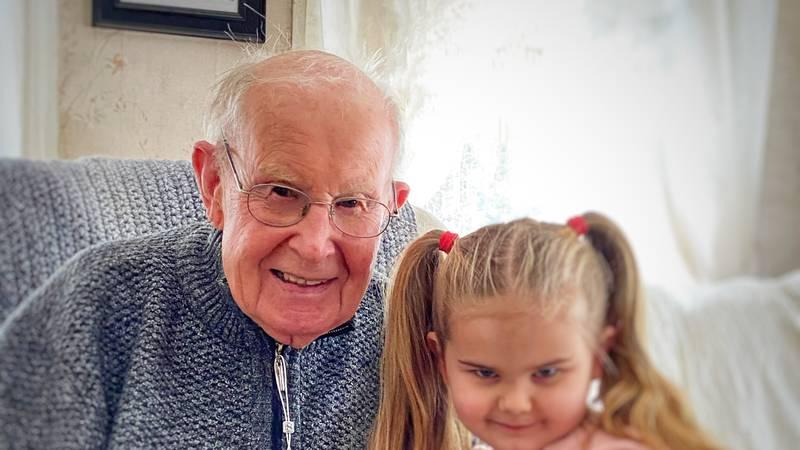 Jim Hasson and great-grandchild
